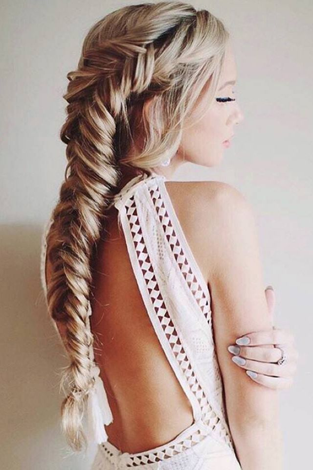Chunky Dutch Fishtail Braid‬ on the beautiful @stephanie_danielle <3. Photo…
