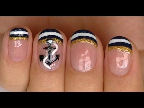 Nautical Nail Design. Not a fan of the tips, but I loooove the anchor.