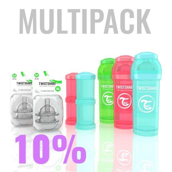 46.63€ Multipack with 3x 260ml/9oz Twistshake bottles, 2x Powder boxes, 2x teats