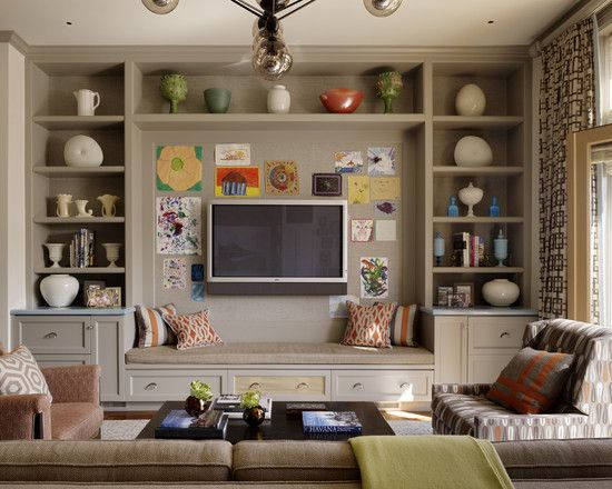 awesome built in entertainment center with seating love the paint color too awesome family room lighting