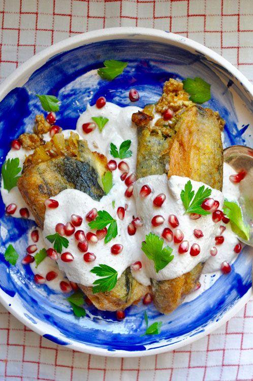 Chiles en Nogada (Picadillo Stuffed Chiles in Walnut Sauce)
