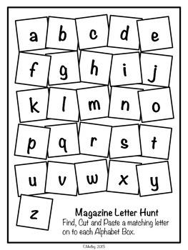 FREE! Magazine Letter Hunt Worksheets, Literacy Center