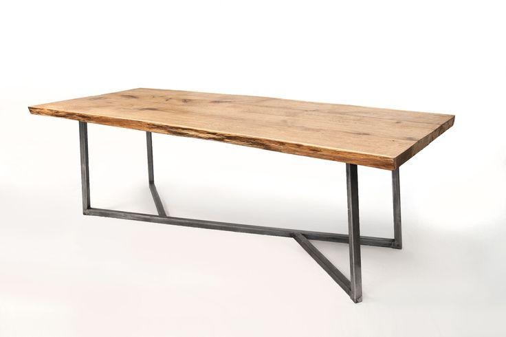 Oak wood, steel base, built for eternity.