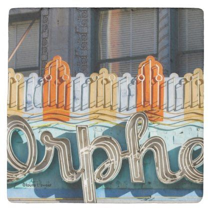 Orpheum Theater Marquee Cork-Backed Stone Coaster - typography gifts unique custom diy
