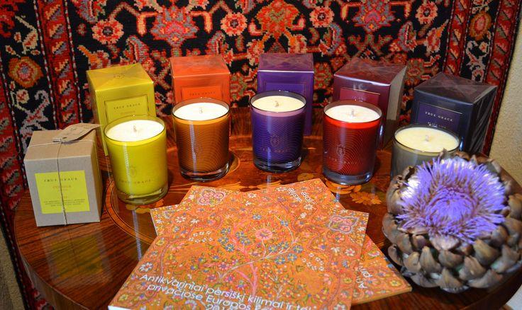 True Grace scented candles #truegrace #candles #luxury #colors #fragrance #home www.laurosnamai.lt