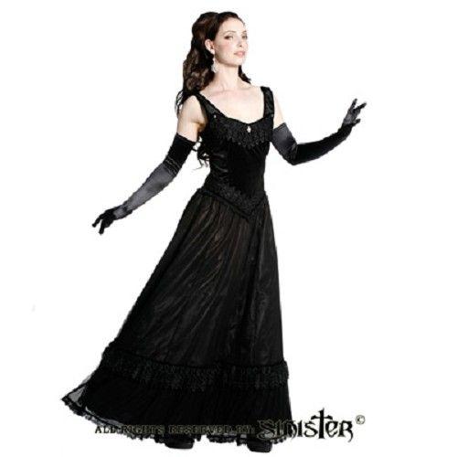 Alexandra lange middeleeuwse gothic jurk van zwart satijn - Gothic Halloween - S - Sinister