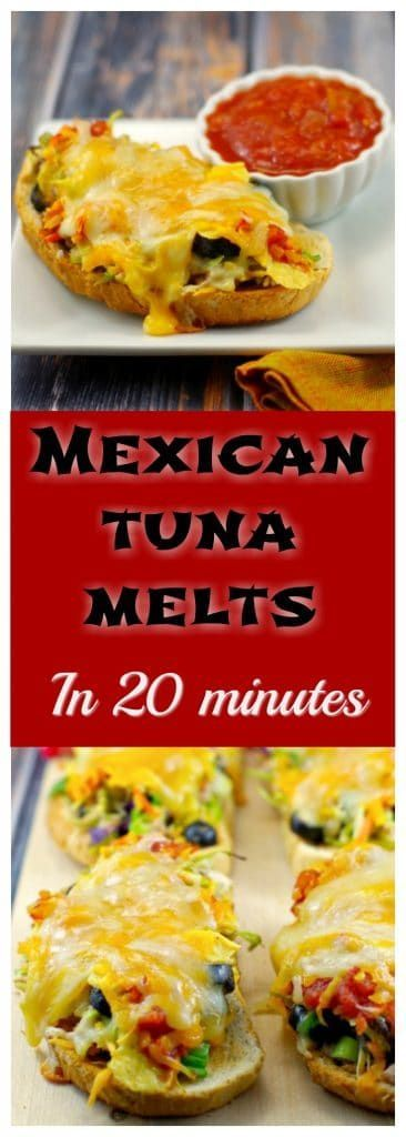 Mexican Tuna Melts   #tuna #tunamelt This new take on an old favourite pairs Mexican flavours with healthy broccoli slaw, two types of gooey melted cheese and canned tuna for an easy, healthy and quick weeknight dinner. If you are looking for canned tuna recipes, this unique, quick and delicious recipe is for you!