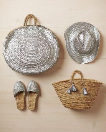 Spray-Painted Straw Slippers, hat, bag - METALLIC - via Martha Stewart Living