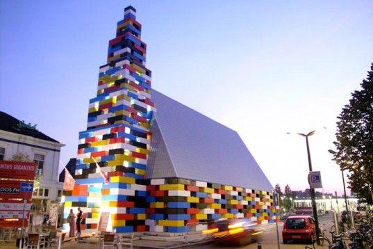 LOOS.FM Creates Gigantic LEGO-Inspired Church Pavilion in the NetherlandsAbondantus Gigantus, Public Spaces, Flag, Festivals, Lego Church, Legochurch, Buildings, The Netherlands, Architecture