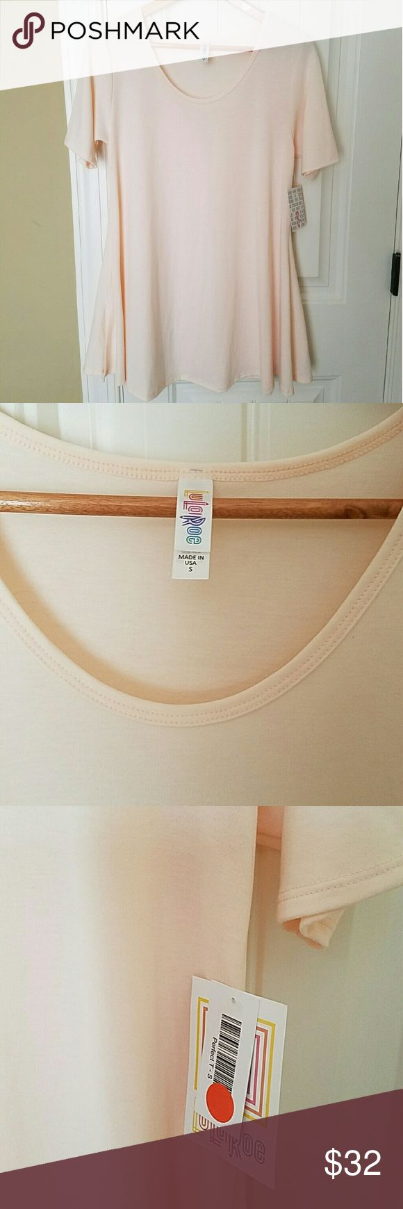 NWT LuLaRoe Perfect T Women's small, new with tags Perfect T. Color is Pastel Peach. LuLaRoe Tops