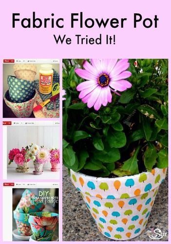 Colorful Fabric-Covered Teracotta Pots!: Diy Mothers, Teracotta Pots, Mothers Day Gifts, Gifts Ideas, Gift Ideas, Fabrics Cov Teracotta, Mother Day Gifts, Colors Fabrics Cov, Fabrics Covers