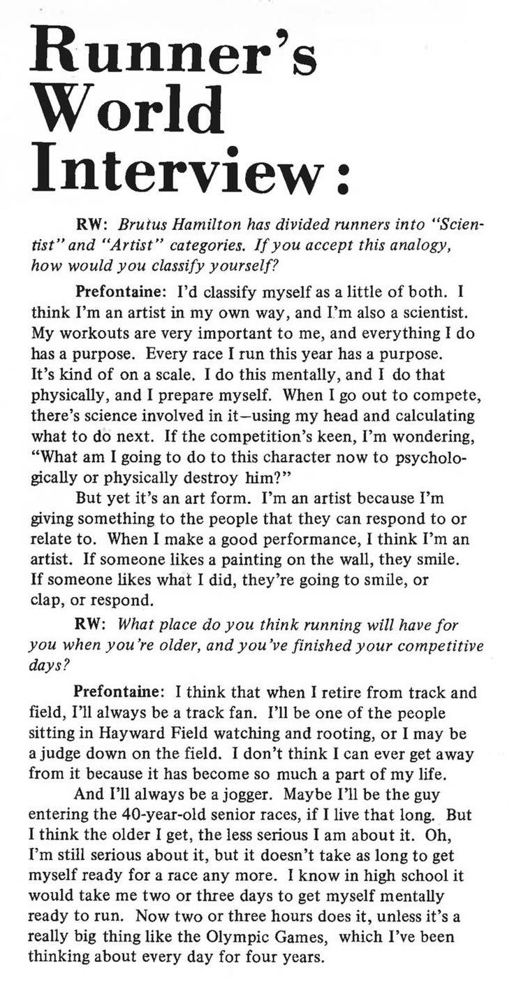 Steve Prefontaine 1972 interview in Runner's World