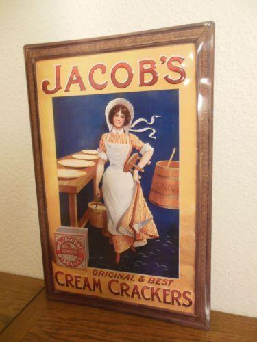 Werbe #Blechschild - #JACOB`S CREAM CRACKERS - 59 X 39,5 cm - TOP