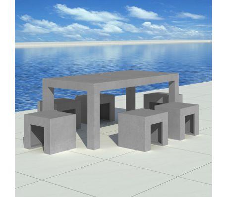 Meubelset beton 1 tafel   6 stoelen