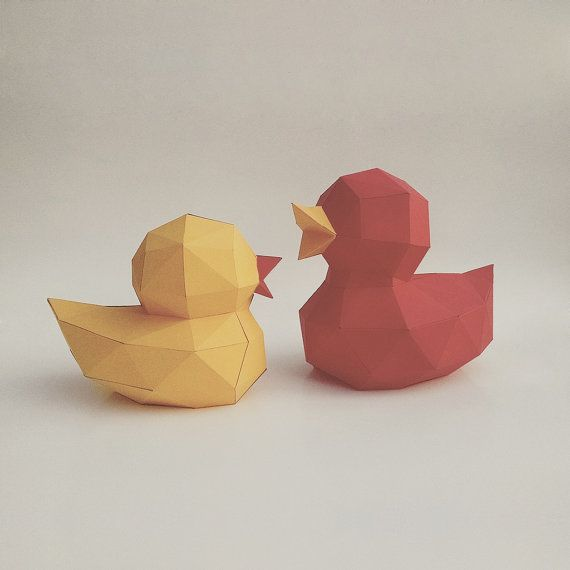 3D Papercraft DIY Papercraft Kit Ducks by LowpolyPaper on Etsy