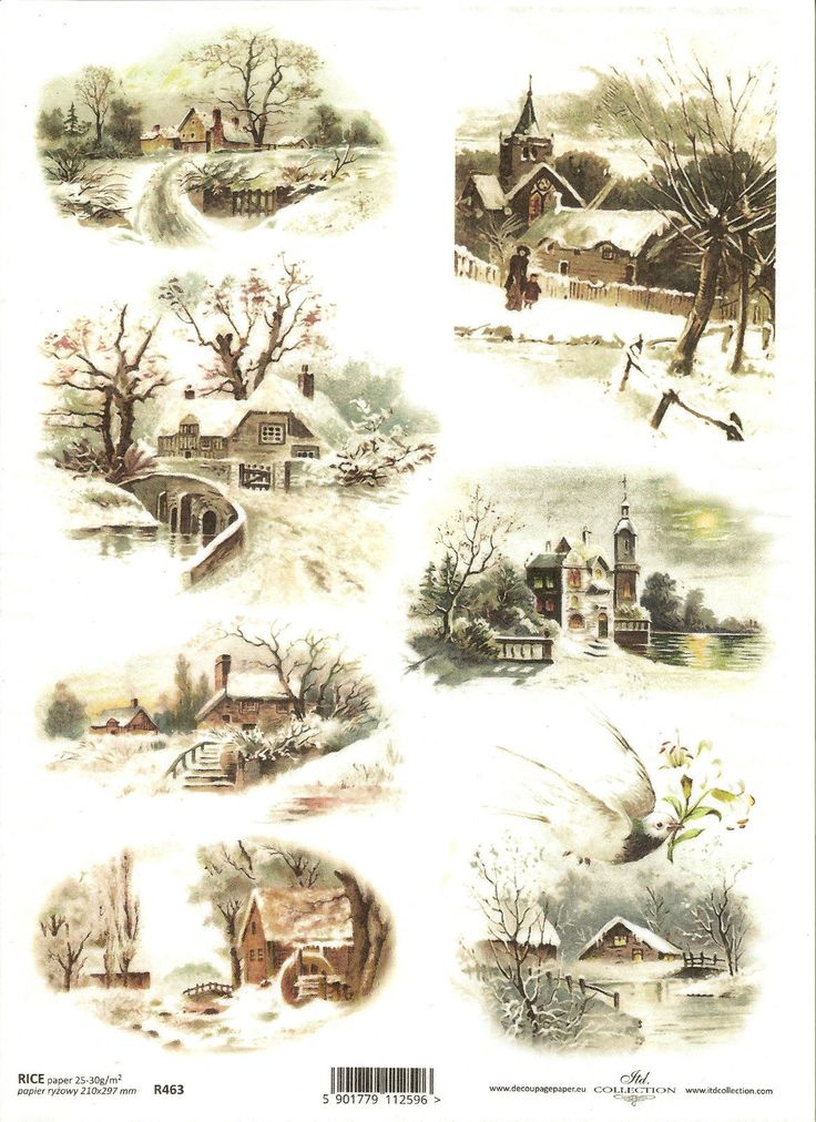 Rice Paper for Decoupage Scrapbooking, Christmas Winter Landscapes A4 ITD R463 | eBay