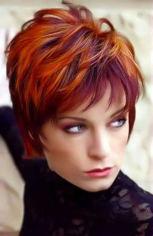 Short Hairstyles with Red Highlights