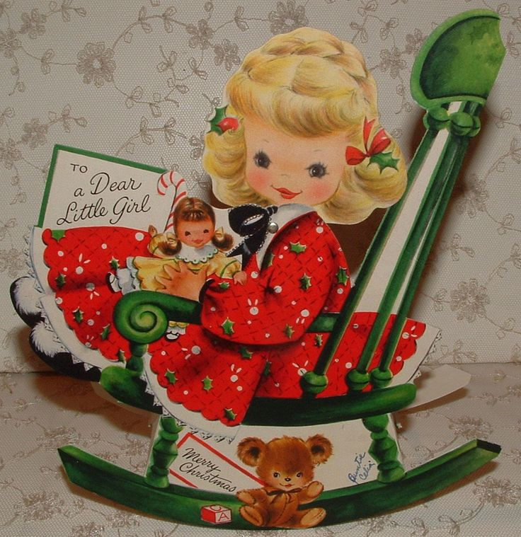 Lg. Stand-up - Rocking Christmas Girl - 1952 Vintage HALLMARK Greeting Card
