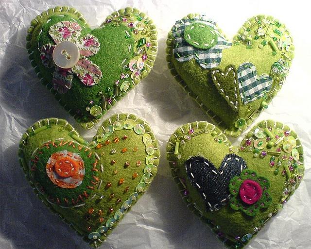 green felt hearts