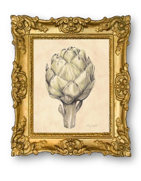 Artichoke I Botanical Print - Vintage Look 8x10