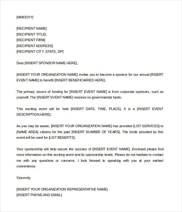 Sponsorship Letter Template u2013 9+ Free Word, PDF Documents Download - format of sponsorship letter