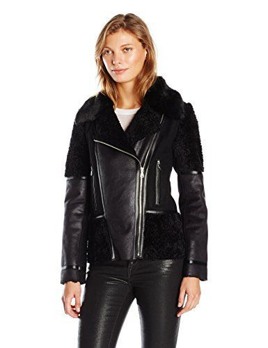 """Asymmetrical faux shearling moto jacket with faux fur collar       Famous Words of Inspiration...""""Those whom the gods love grow young.""""   Oscar Wilde — Click here for more from Oscar...  More details at https://jackets-lovers.bestselleroutlets.com/ladies-coats-jackets-vests/fur-faux-fur/product-review-for-vince-camuto-womens-faux-shearling/"""