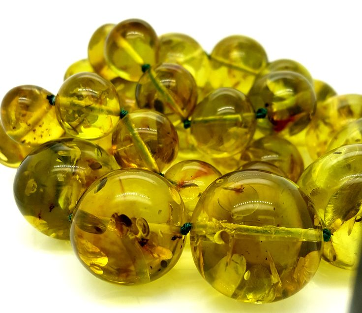 Beautiful Lime Green Baltic Amber Graduated (14mm - 103mm beads) Necklace - $2,700- #amber #greenamber #limeamber #necklace #bead #graduated #lime #lghumphries #humphries #antique #vintage #bespoke