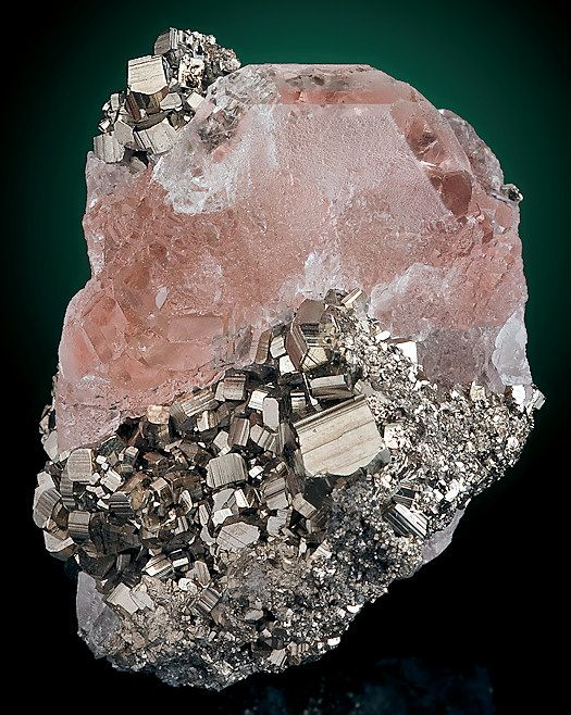 Gemmy pink Fluorite nestled between lustrous Pyrite, from Huanzala Mine, Hualanca District, Huanuco Department, Peru