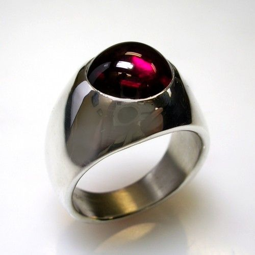 Unique Ruby Mens Ring in Solid Sterling Silver