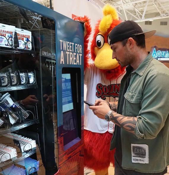 Michael Ray Helps Officially Open First Tennessee Park Twitter Vending Machine :)