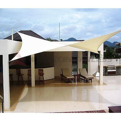 Sun Shade Sail Fabric Outdoor Canopy Patio Pool Awning Cover 12u0027 Or 16u0027 Or