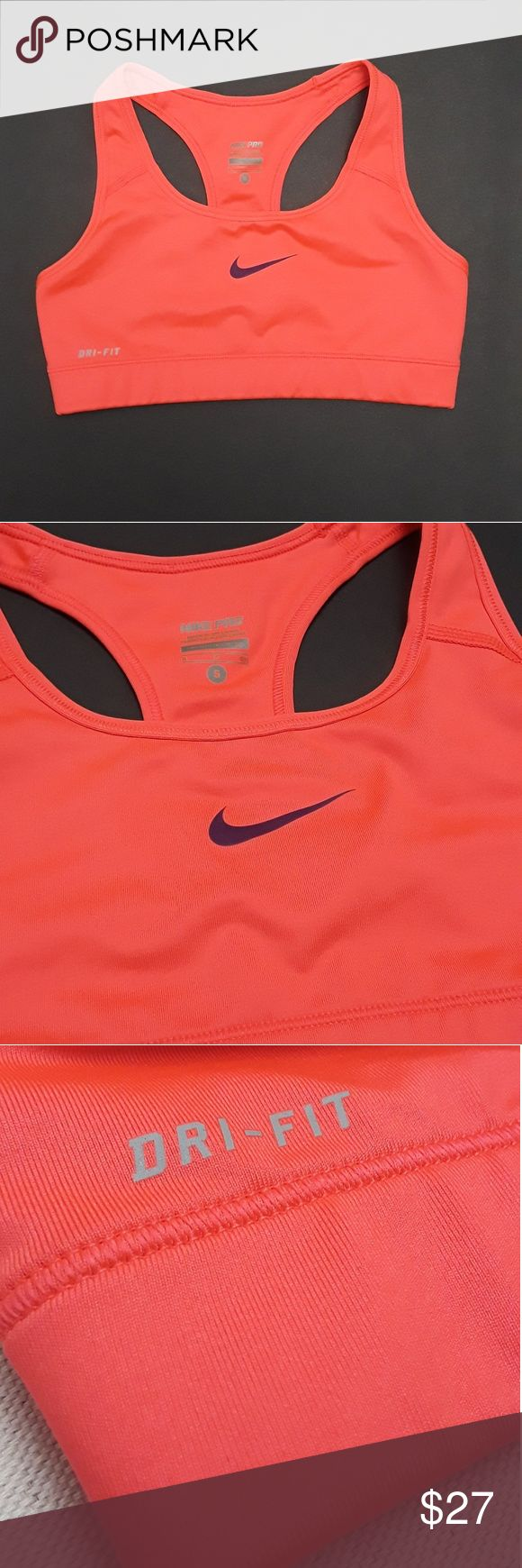 Nike Pro Dry Fit Neon Orange Sport Bra Size Small Orange