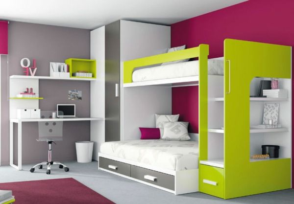 Chambre à coucher-  103 Grandes idées - lits-mezzanine-enfants-mixtes-chambre-a-coucher