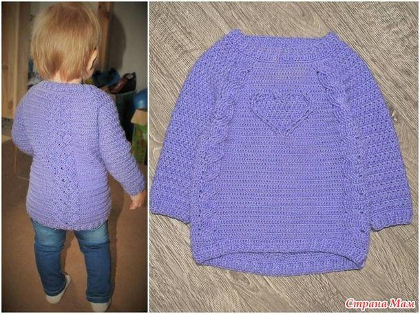 МК детский свитер крючком с косами. Россия