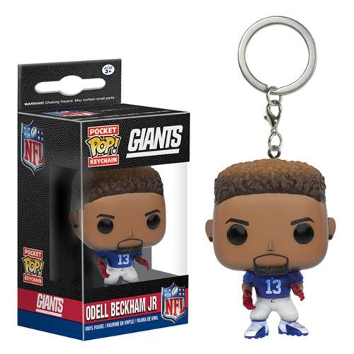 No doubt about it, Odell Beckham Jr. has the best end zone dances in the league. Make sure to take him with you wherever you go! This NFL Odell Beckham Jr. Pocket Pop! Vinyl Key Chain features the sta