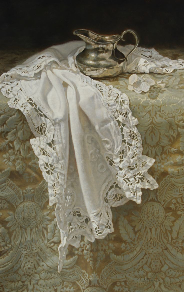 """'Silver Creamer and Lace', Oil, 18"""" x 12"""" by Susan Paterson"""