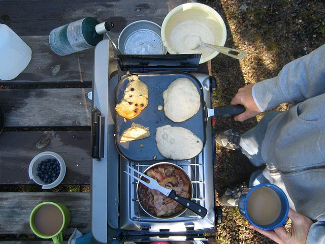 Camping pancakes are my favorite thing to eat while camping! If you have a skillet, these are fast, easy to make, and taste delicious!