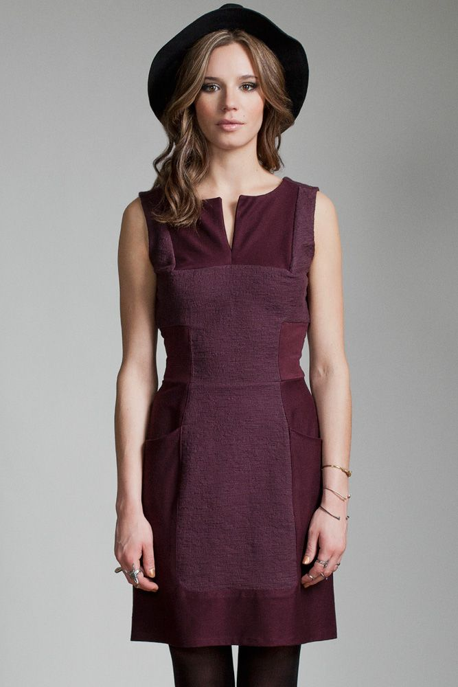 Nova Dress by Jennifer Glasgow.  Structured dress with contrast fabric detailing.