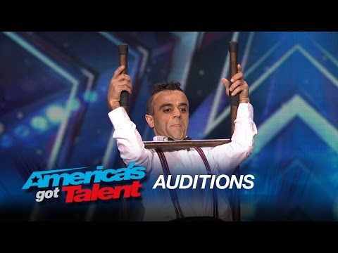 AMAZING!!! ~ Uzeyer Novruzov: Man Channels Charlie Chaplin During Ladder Stunt - America's Got Talent 2015 - YouTube