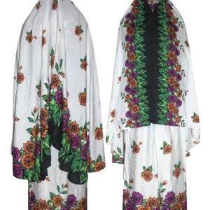 Mukena Batik Santung Bali Putih All Size