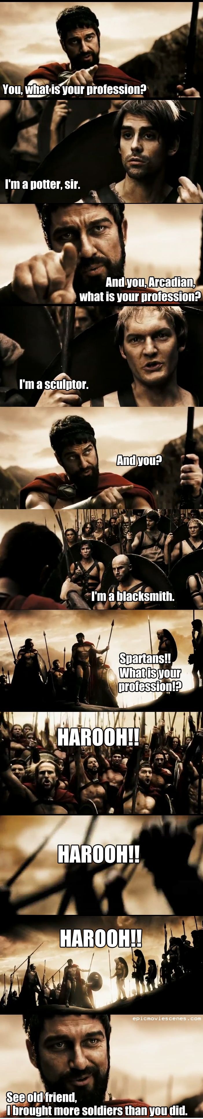 Spartans!! What is your profession?!?    epicmoviescenes.com