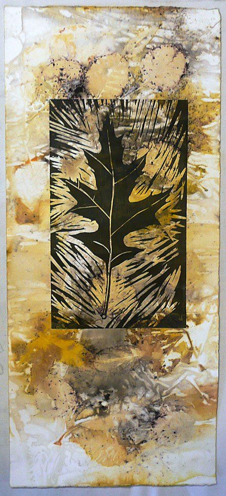 Pin oak woodblock and autumn leaves eco-print on paper