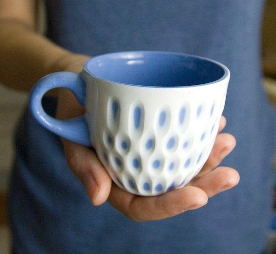 Handmade ceramic porcelain cup morning coffee cup by imkadesign