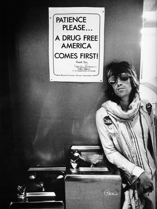 Keith Richards; waiting to go through US customs in Seattle, during The Rolling Stones 1972 tour; photo by Ethan Russell.