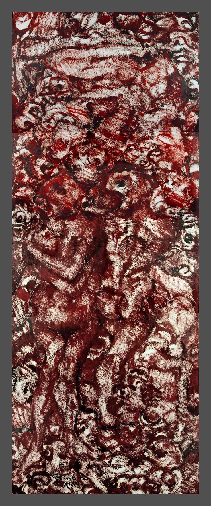 Enrico Colombotto Rosso, Inferno, tempera su cartoncino, sec. XX