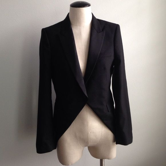 Zara Woman Tuxedo Jacket This is a black jacket with a tuxedo coat and single button with an X cross front design from Zara Woman Studio, in a medium size. Zara Jackets & Coats