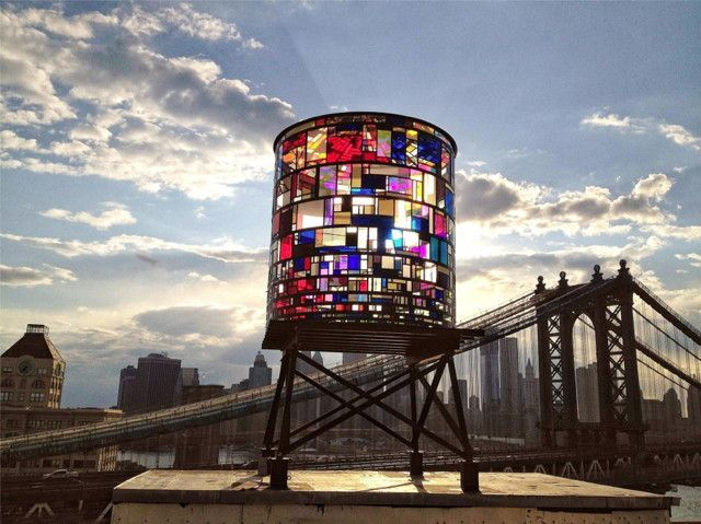 Stained glass watertower