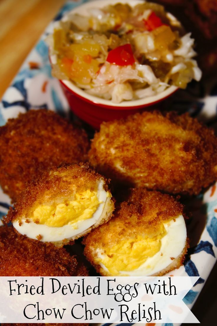 Game Day Fried Deviled Eggs with Chow Chow Relish - a winning appetizer for the Big Game! #foodiefootballfans