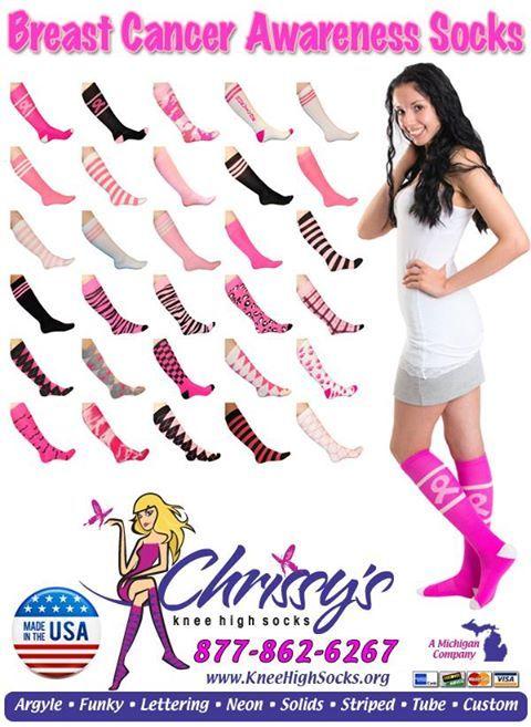 30+ Pink Breast Cancer Awareness Knee Socks