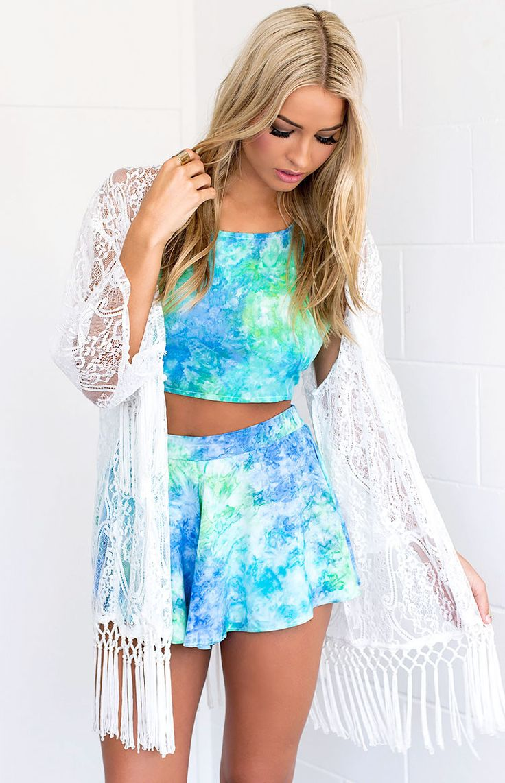 blue and green tie dye two piece